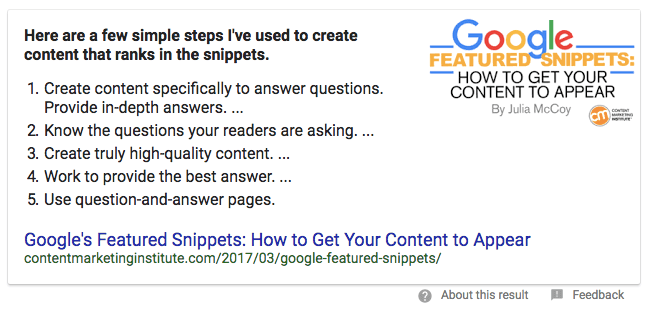 typical google featured snippet in search engine results pages