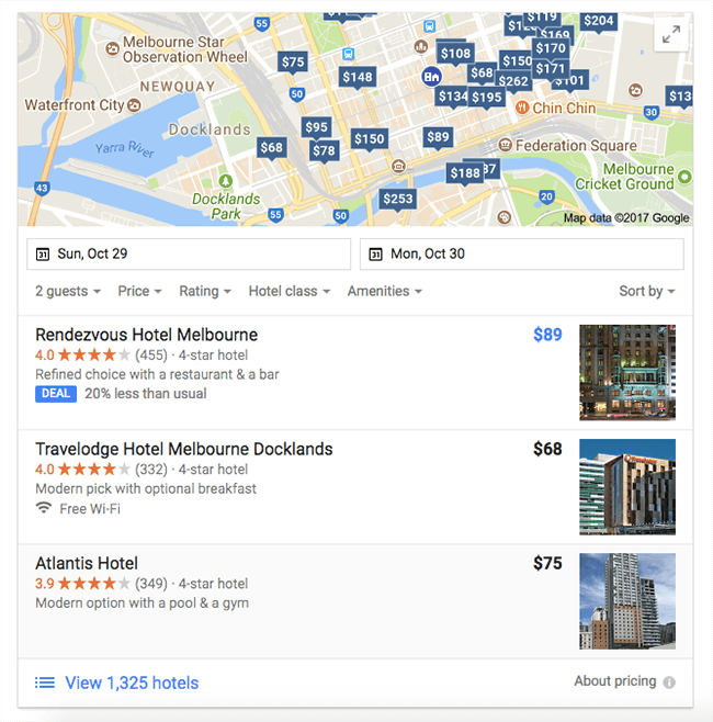 typical google local pack result in search engine results pages