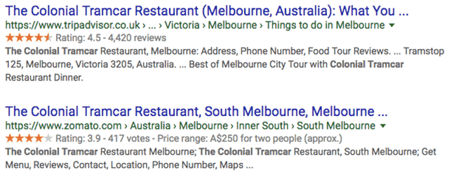 typical google reviews in search engine results pages