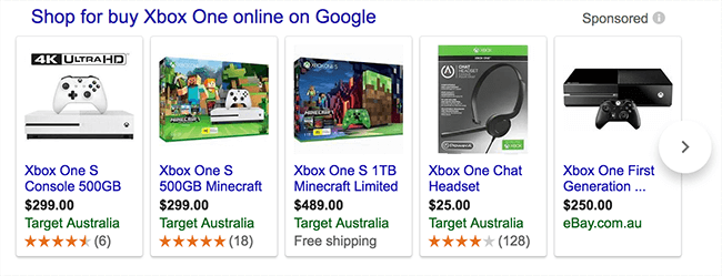 typical google shopping results panel in search engine results pages