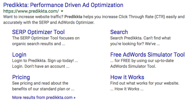 typical google site links result in search engine results pages
