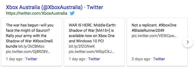 typical google tweet pack in search engine results pages