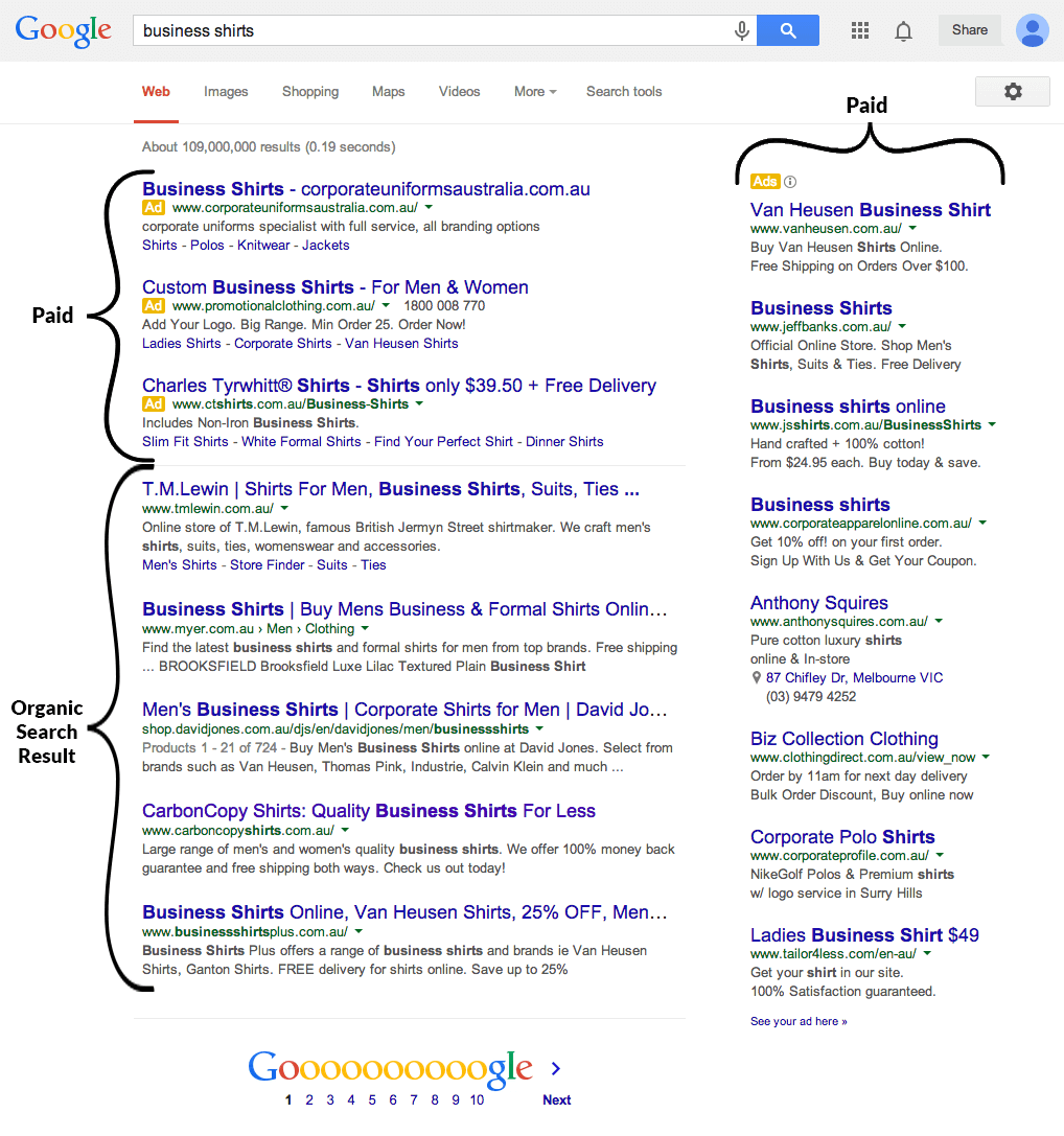typical organic google search result example with headline url and description