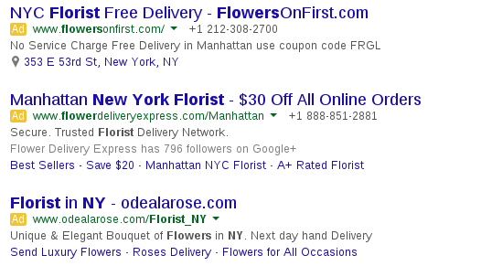 nyc florist ad examples